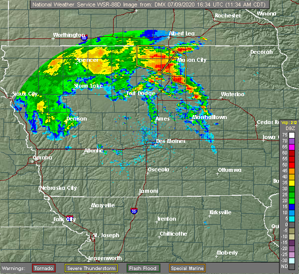 Radar Image for Severe Thunderstorms near Thornton, IA at 7/9/2020 11:36 AM CDT