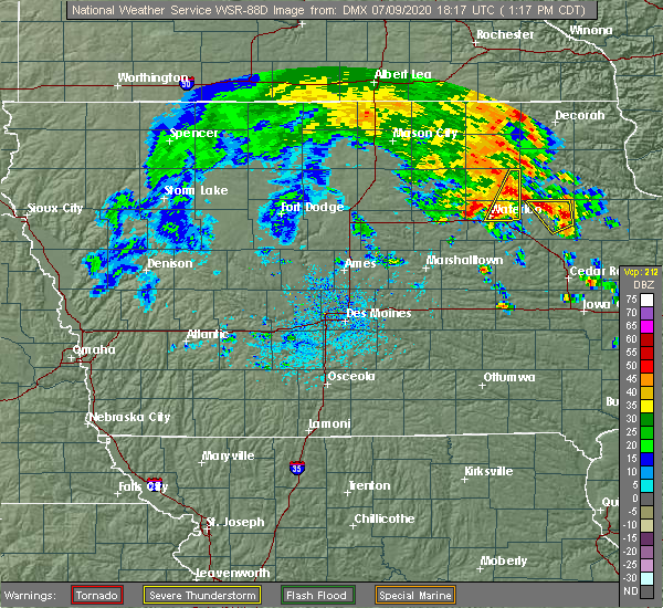 Radar Image for Severe Thunderstorms near Frederika, IA at 7/9/2020 1:25 PM CDT
