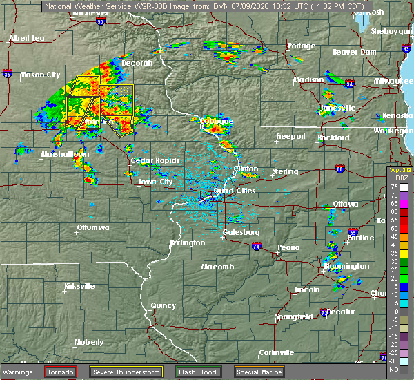 Radar Image for Severe Thunderstorms near Winthrop, IA at 7/9/2020 1:35 PM CDT