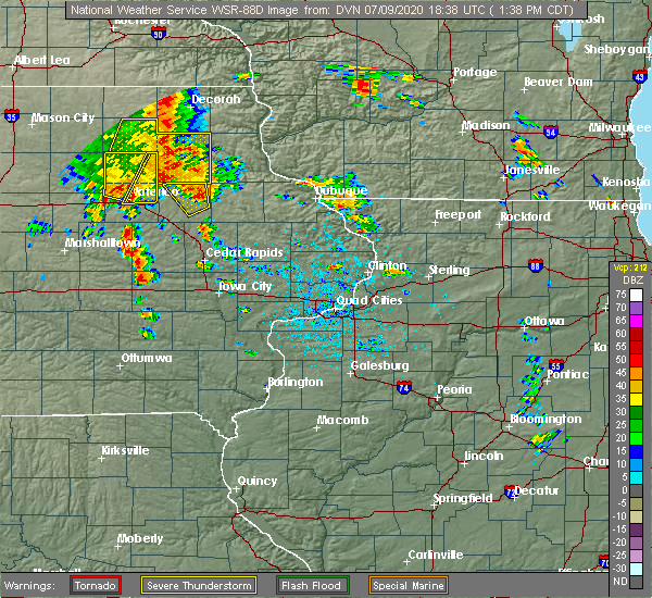 Radar Image for Severe Thunderstorms near Winthrop, IA at 7/9/2020 1:43 PM CDT