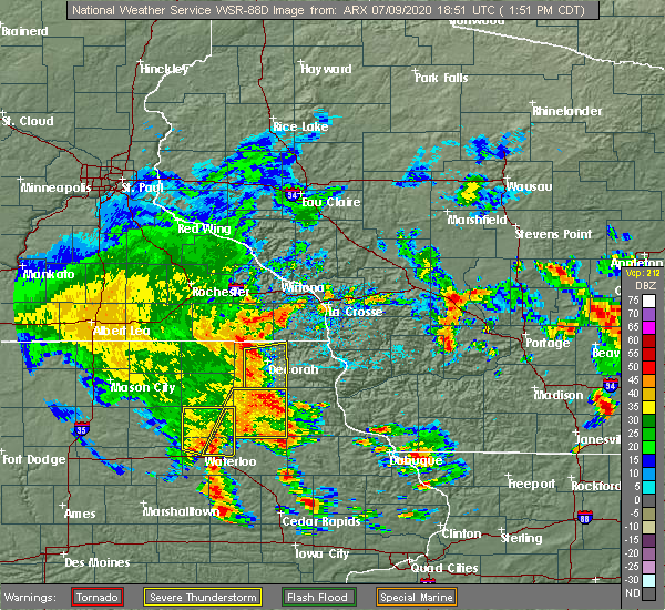 Radar Image for Severe Thunderstorms near Dunkerton, IA at 7/9/2020 1:58 PM CDT