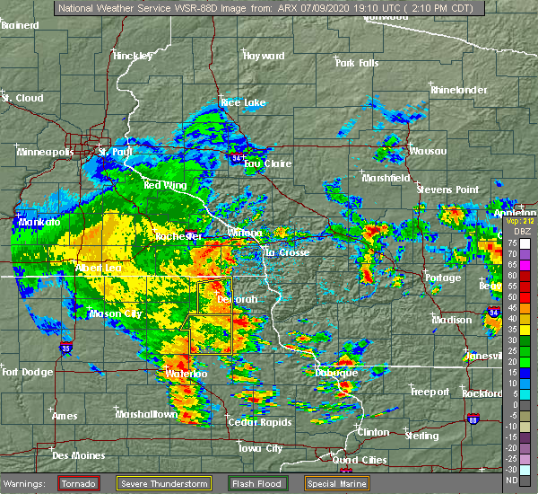 Radar Image for Severe Thunderstorms near Ossian, IA at 7/9/2020 2:17 PM CDT
