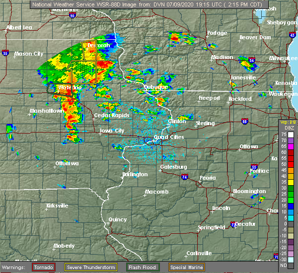 Radar Image for Severe Thunderstorms near Vinton, IA at 7/9/2020 2:22 PM CDT