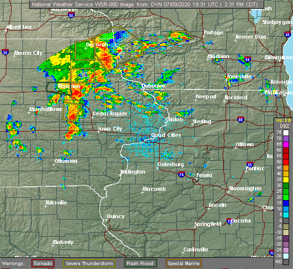 Radar Image for Severe Thunderstorms near Winthrop, IA at 7/9/2020 2:33 PM CDT