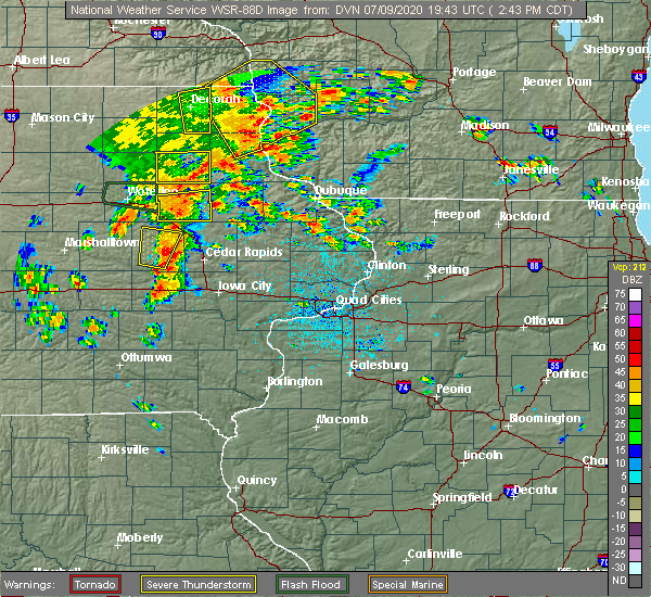 Radar Image for Severe Thunderstorms near Winthrop, IA at 7/9/2020 2:46 PM CDT
