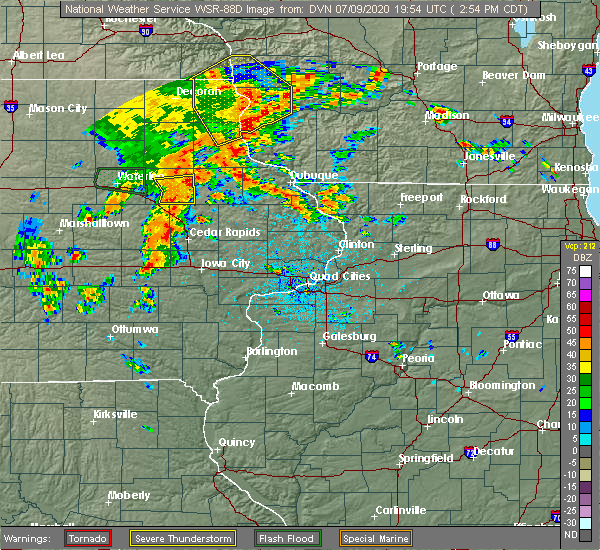 Radar Image for Severe Thunderstorms near Greeley, IA at 7/9/2020 2:59 PM CDT