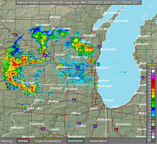 Radar Image for Severe Thunderstorms near Fredonia, WI at 7/9/2020 3:11 PM CDT