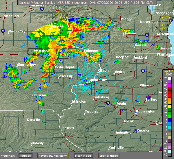 Radar Image for Severe Thunderstorms near Earlville, IA at 7/9/2020 3:14 PM CDT