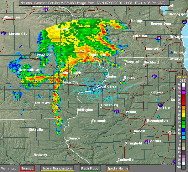 Radar Image for Severe Thunderstorms near Martelle, IA at 7/9/2020 4:15 PM CDT