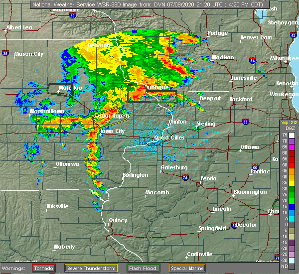 Radar Image for Severe Thunderstorms near Martelle, IA at 7/9/2020 4:27 PM CDT