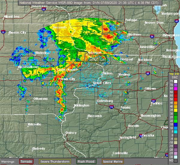 Radar Image for Severe Thunderstorms near Martelle, IA at 7/9/2020 4:45 PM CDT