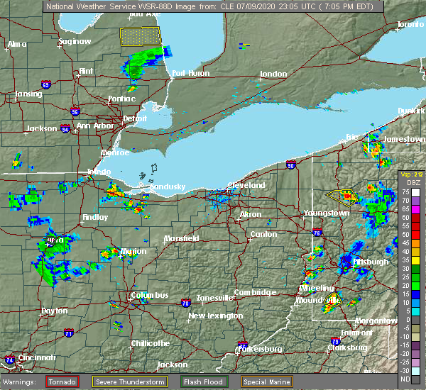 Radar Image for Severe Thunderstorms near Bellevue, OH at 7/9/2020 7:14 PM EDT