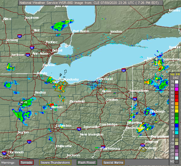 Radar Image for Severe Thunderstorms near Bellevue, OH at 7/9/2020 7:30 PM EDT