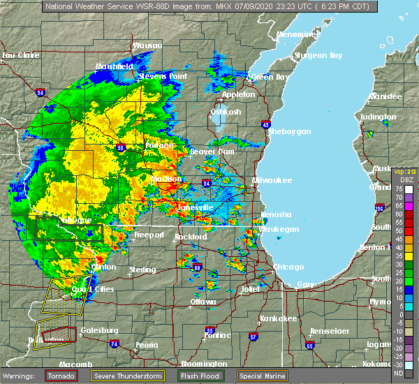 Radar Image for Severe Thunderstorms near Jefferson, WI at 7/9/2020 6:34 PM CDT