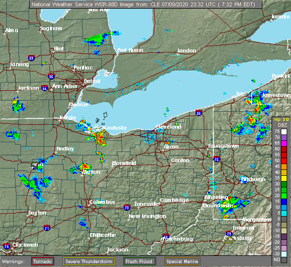 Radar Image for Severe Thunderstorms near Bellevue, OH at 7/9/2020 7:46 PM EDT