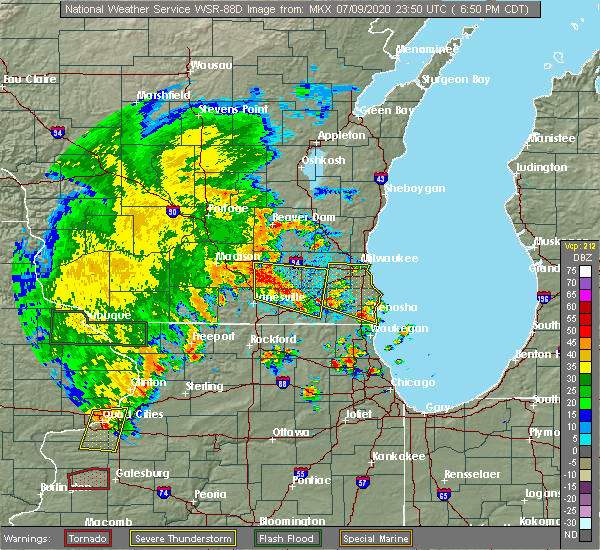 Radar Image for Severe Thunderstorms near Rochester, WI at 7/9/2020 6:55 PM CDT