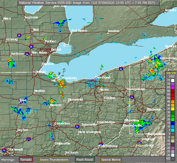 Radar Image for Severe Thunderstorms near Bellevue, OH at 7/9/2020 7:58 PM EDT