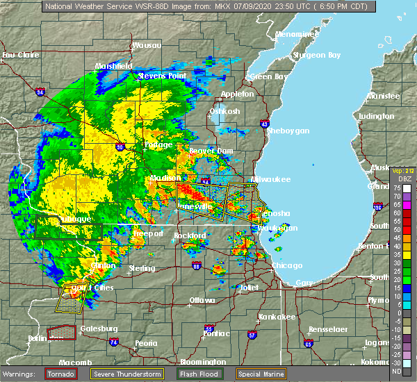 Radar Image for Severe Thunderstorms near Jefferson, WI at 7/9/2020 6:59 PM CDT