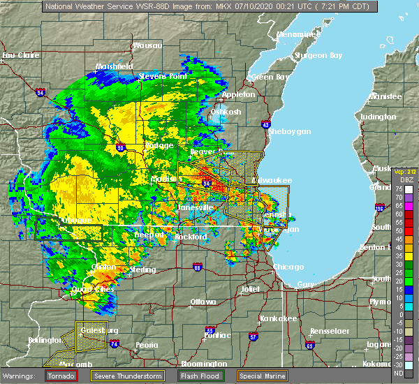 Radar Image for Severe Thunderstorms near Fredonia, WI at 7/9/2020 7:27 PM CDT