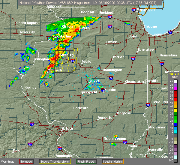 Radar Image for Severe Thunderstorms near Canton, IL at 7/9/2020 7:41 PM CDT