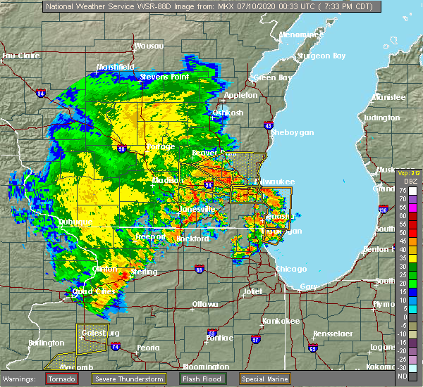 Radar Image for Severe Thunderstorms near River Hills, WI at 7/9/2020 7:41 PM CDT