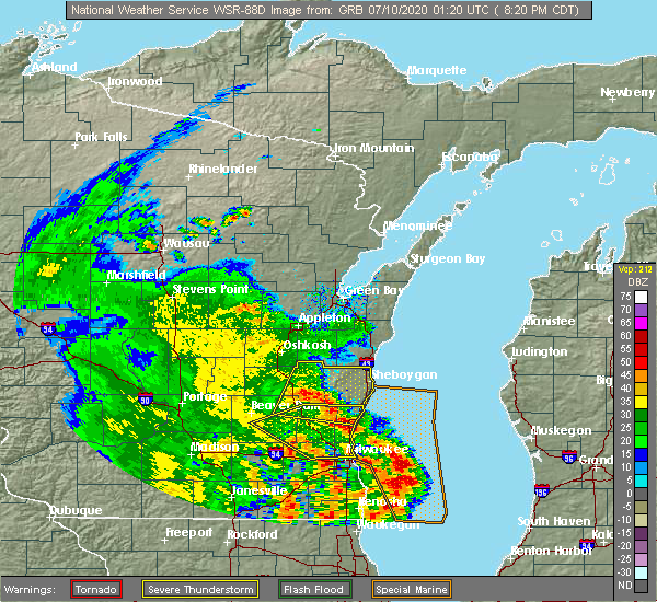 Radar Image for Severe Thunderstorms near Fredonia, WI at 7/9/2020 8:22 PM CDT