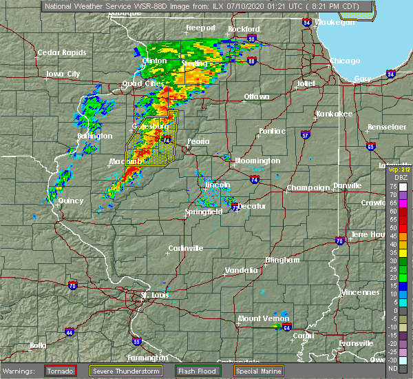 Radar Image for Severe Thunderstorms near Canton, IL at 7/9/2020 8:24 PM CDT