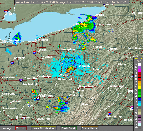 Radar Image for Severe Thunderstorms near Midway, PA at 7/9/2020 10:19 PM EDT