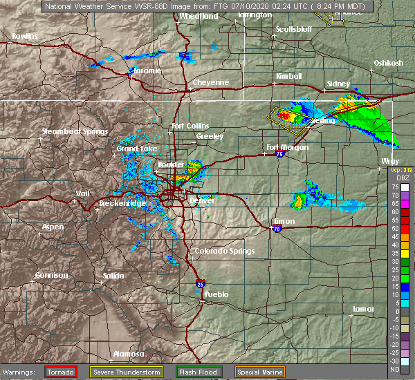 Radar Image for Severe Thunderstorms near Denver, CO at 7/9/2020 8:29 PM MDT