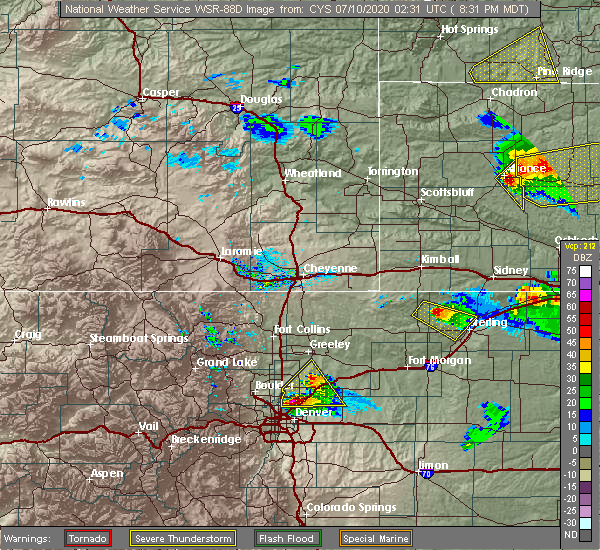 Radar Image for Severe Thunderstorms near Sterling, CO at 7/9/2020 8:36 PM MDT