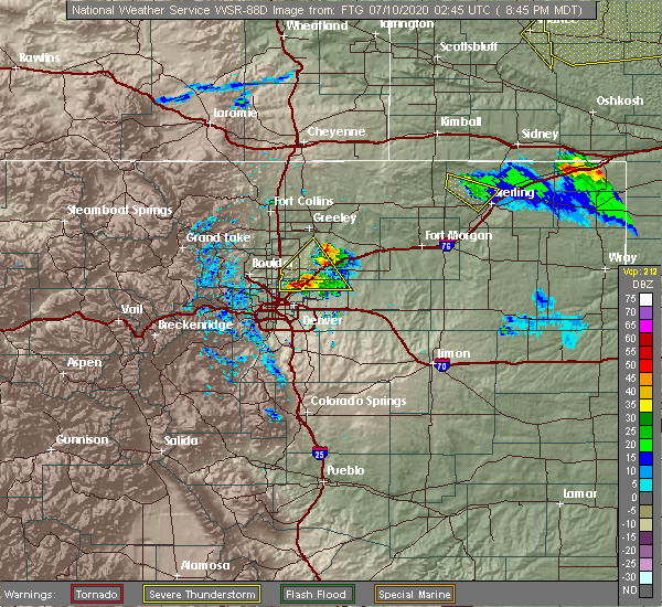 Radar Image for Severe Thunderstorms near Denver, CO at 7/9/2020 8:51 PM MDT