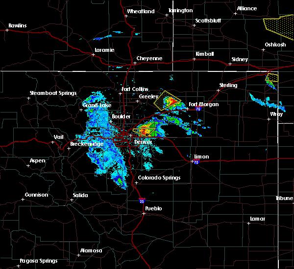 Radar Image for Severe Thunderstorms near Jackson Lake, CO at 7/9/2020 9:28 PM MDT