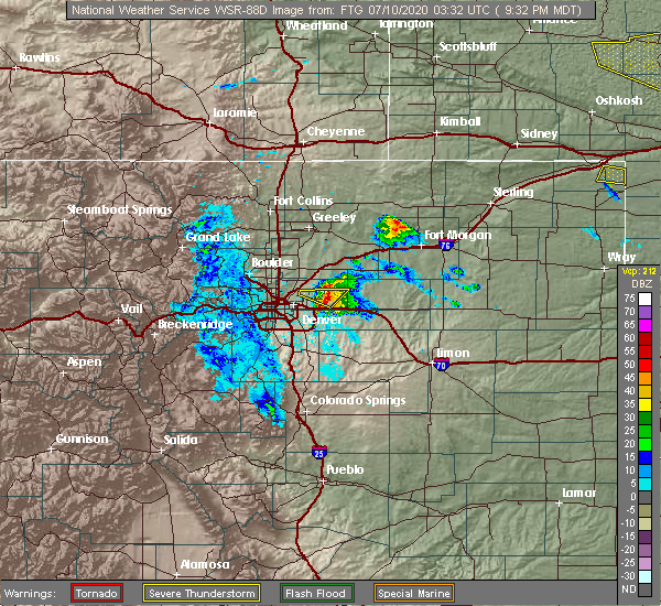 Radar Image for Severe Thunderstorms near Denver, CO at 7/9/2020 9:37 PM MDT