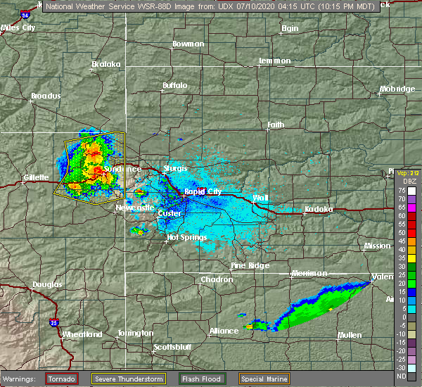 Radar Image for Severe Thunderstorms near Beulah, WY at 7/9/2020 10:18 PM MDT