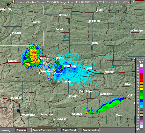 Radar Image for Severe Thunderstorms near Beulah, WY at 7/9/2020 10:25 PM MDT