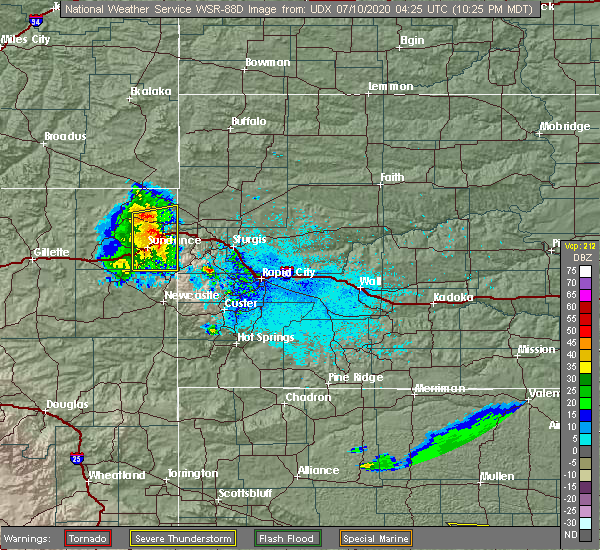 Radar Image for Severe Thunderstorms near Beulah, WY at 7/9/2020 10:32 PM MDT