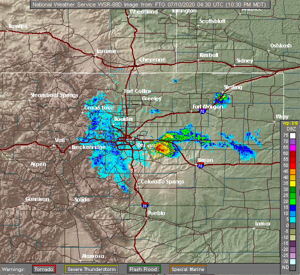 Radar Image for Severe Thunderstorms near Strasburg, CO at 7/9/2020 10:34 PM MDT