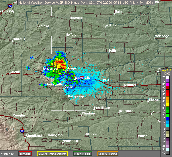 Radar Image for Severe Thunderstorms near Fruitdale, SD at 7/9/2020 11:20 PM MDT