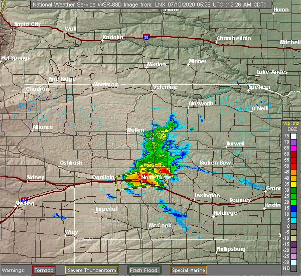 Radar Image for Severe Thunderstorms near Maxwell, NE at 7/10/2020 12:29 AM CDT