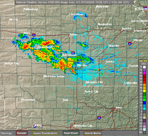 Radar Image for Severe Thunderstorms near Andover, KS at 7/10/2020 5:06 AM CDT