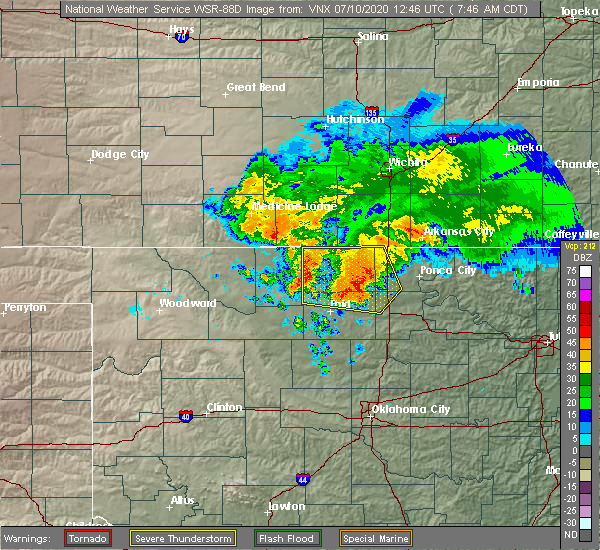 Radar Image for Severe Thunderstorms near Fairmont, OK at 7/10/2020 7:48 AM CDT