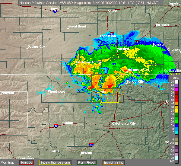 Radar Image for Severe Thunderstorms near Hunter, OK at 7/10/2020 7:55 AM CDT
