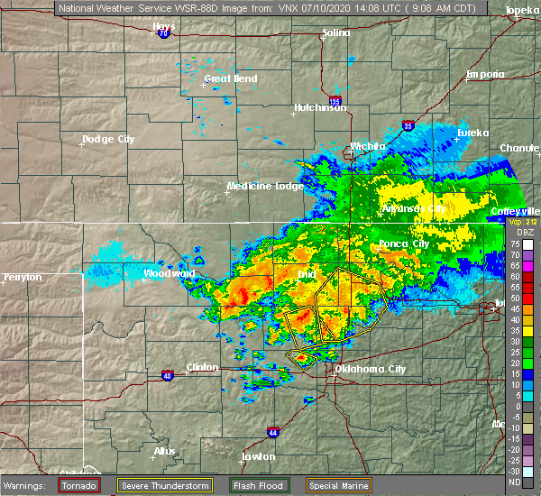 Radar Image for Severe Thunderstorms near Cleo Springs, OK at 7/10/2020 9:14 AM CDT