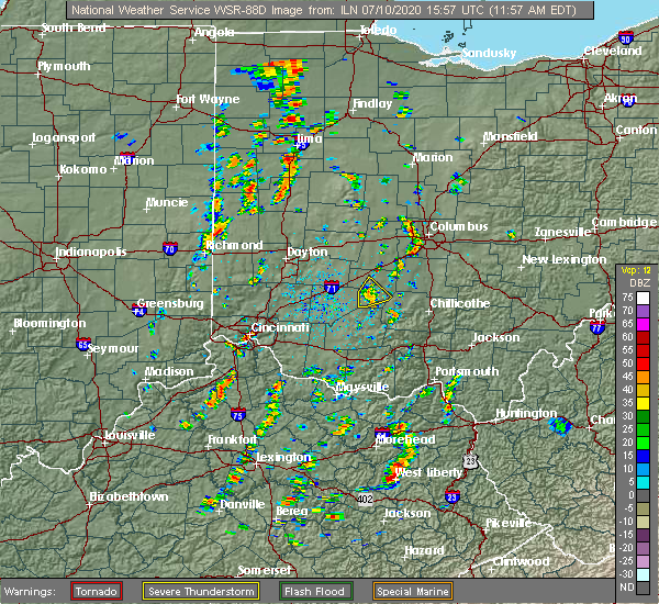 Radar Image for Severe Thunderstorms near Columbus, OH at 7/10/2020 12:02 PM EDT