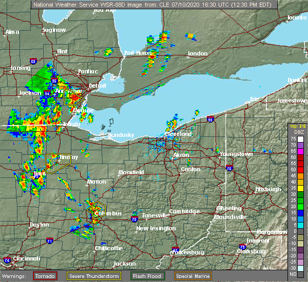Radar Image for Severe Thunderstorms near Arlington, OH at 7/10/2020 12:32 PM EDT
