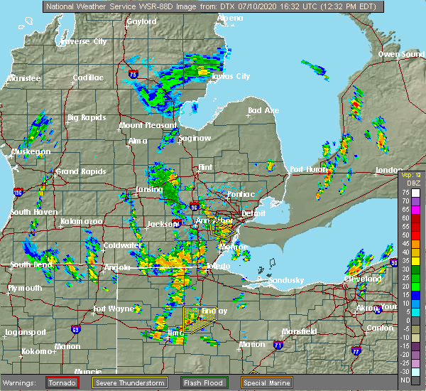 Radar Image for Severe Thunderstorms near Perrysburg, OH at 7/10/2020 12:42 PM EDT