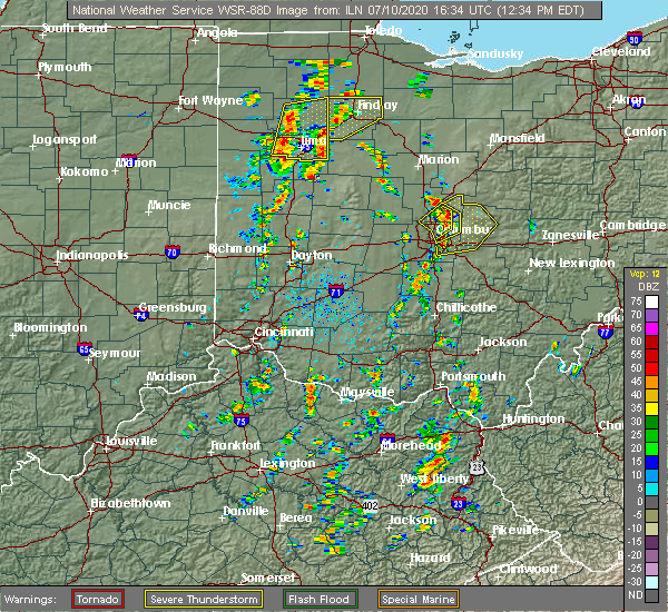 Radar Image for Severe Thunderstorms near Columbus, OH at 7/10/2020 12:44 PM EDT
