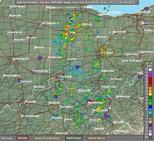 Radar Image for Severe Thunderstorms near Minerva Park, OH at 7/10/2020 12:44 PM EDT