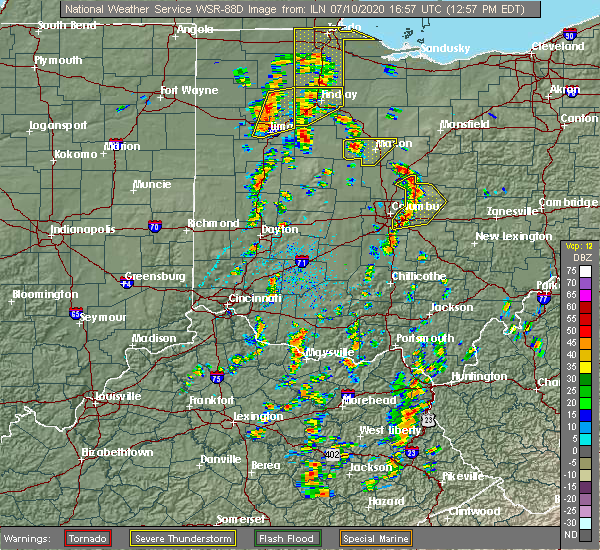 Radar Image for Severe Thunderstorms near Pickerington, OH at 7/10/2020 1:02 PM EDT