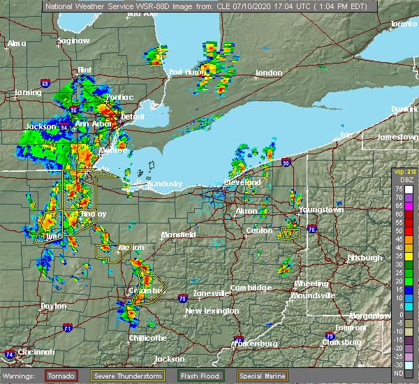 Radar Image for Severe Thunderstorms near Gann, OH at 7/10/2020 1:08 PM EDT